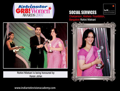 Rohini Nilekani honoured by Karan Johar