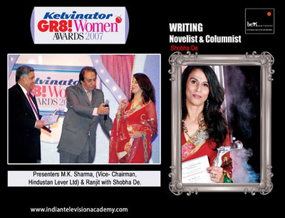 M.K. Sharma (Vice- Chairman, Hindustan Lever Ltd) and Rajit  with Shobha De