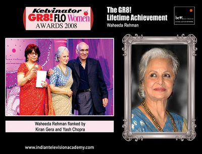 Waheeda Rehman flanked by Kiran Gera and Yash Chopra