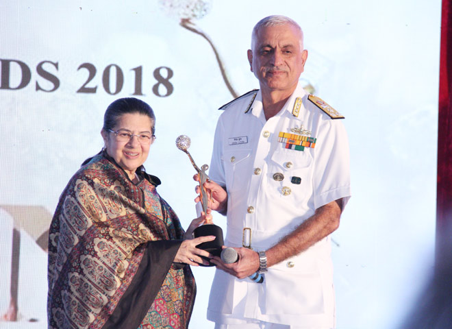 Vice Admiral Girish Luthra (Flag Officer Commanding of the Western Naval Command) to Padma Bhushan Ms. Rajashree Birla